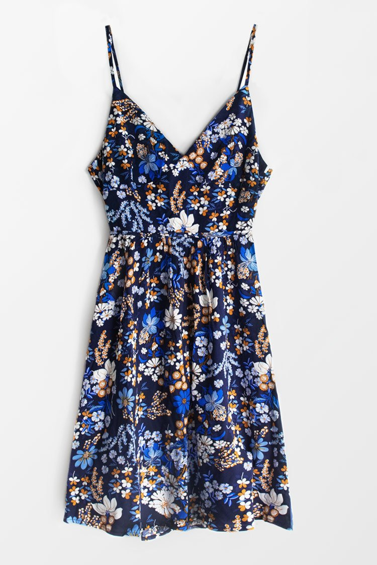 Blue Floral V-Neck Bowknot Dress
