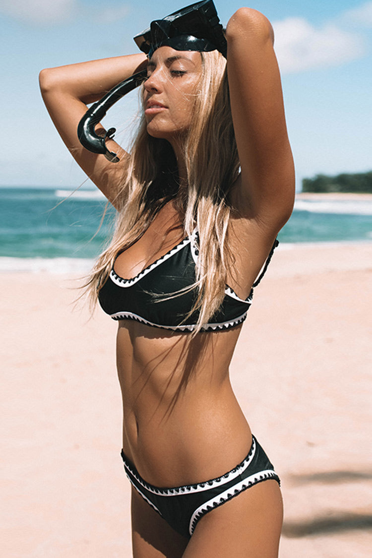 Black And White Crochet Bikini