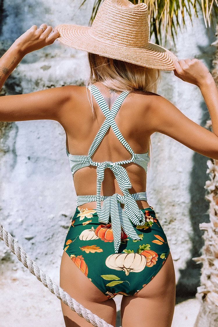 Green Stripe and Pumpkin One-Piece Swimsuit