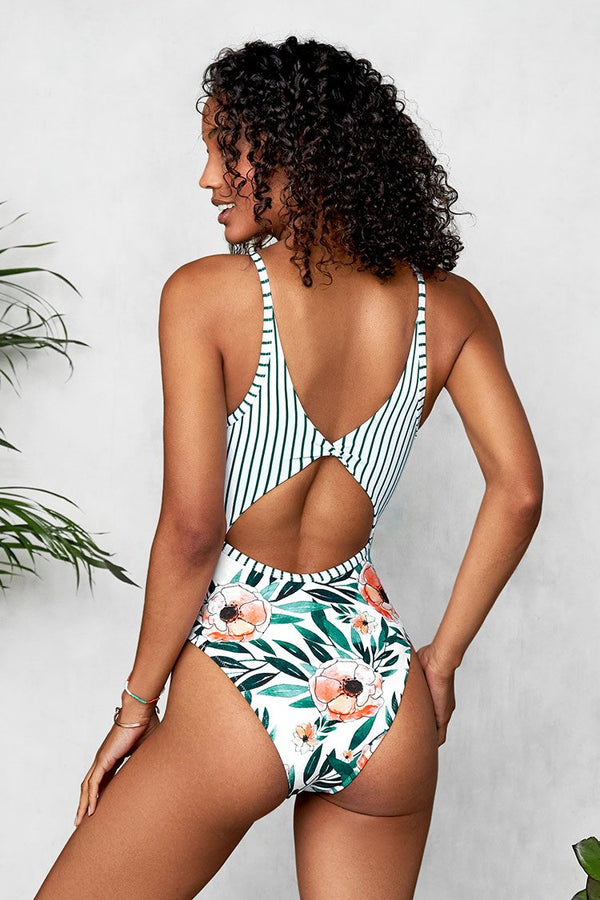 Striped and Floral O-Ring One-Piece Swimsuit