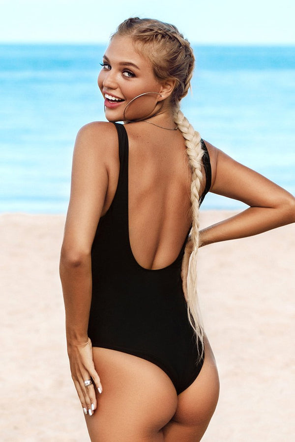 Striped Twist Scoop Back One-Piece Swimsuit
