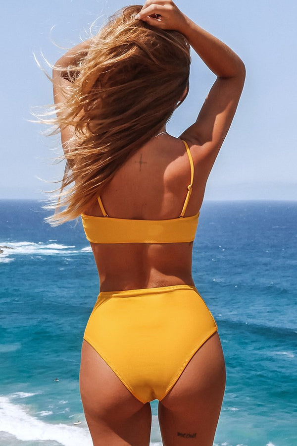 Yellow Ruffled Bandeau High-Waisted Bikini