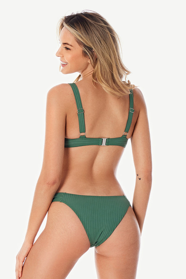 Green Ribbed Wide Straps Bikini