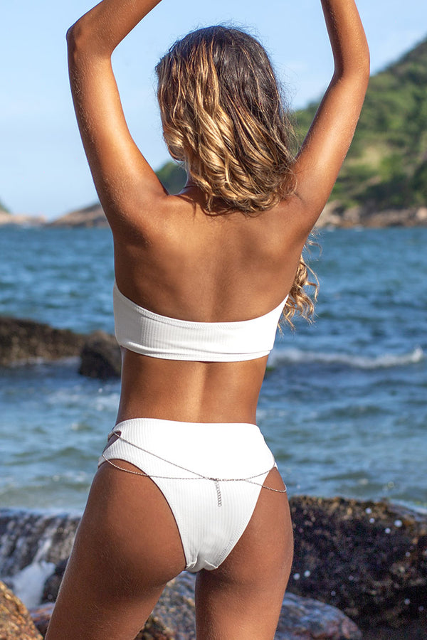White Strapless High Cut Cutout Bikini