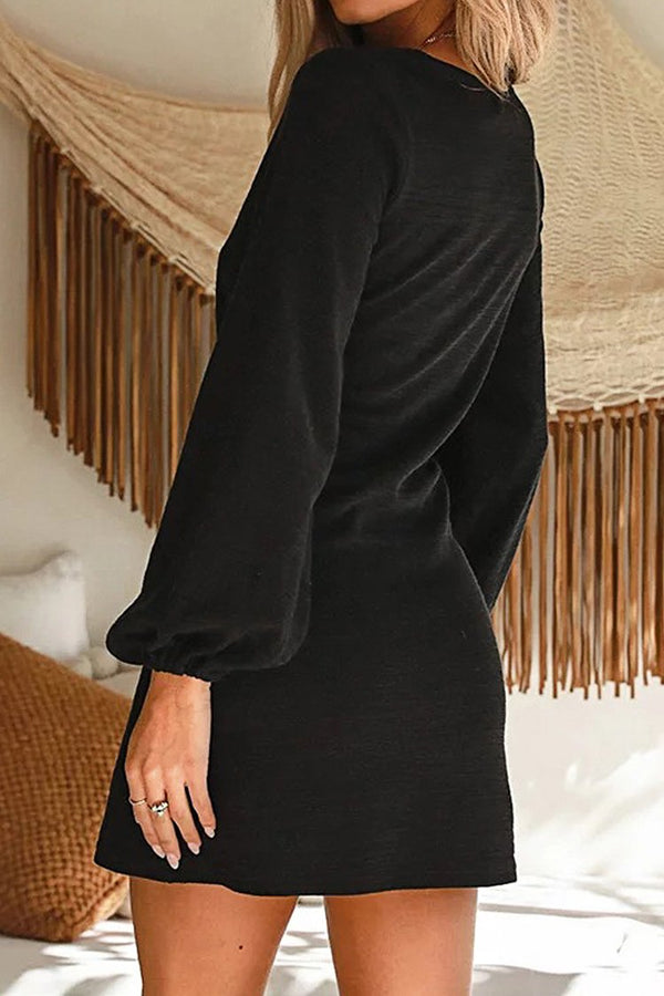 Black Puff Long Sleeve Mini Dress