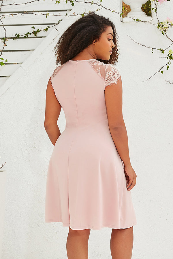 Pink Lace Shoulder Plus Size Dress