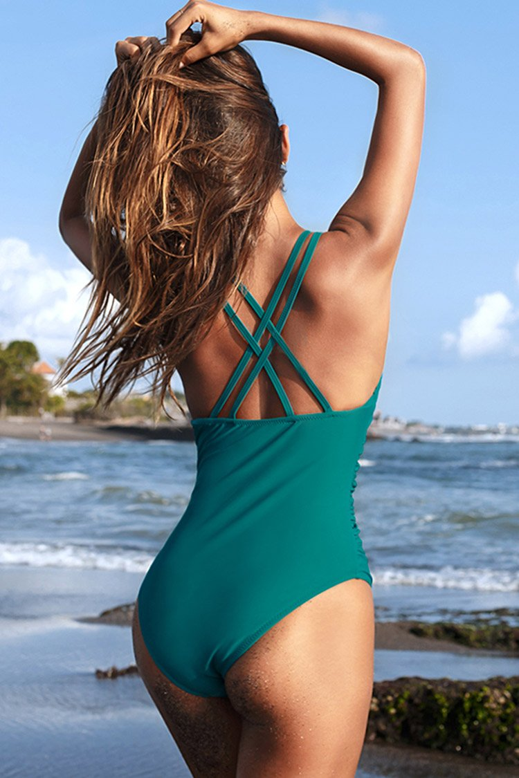 Teal Ruffled Strappy One-Piece Swimsuit