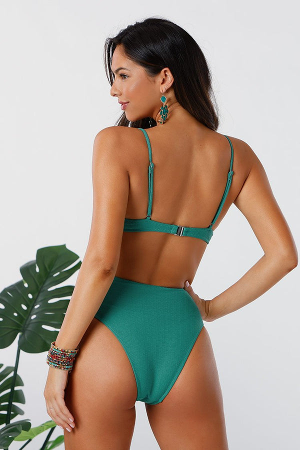 Teal Ruffled Drawstring One-Piece Swimsuit