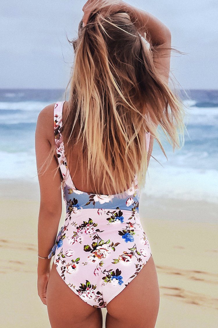 Floral Tie-Front One-Piece Swimsuit