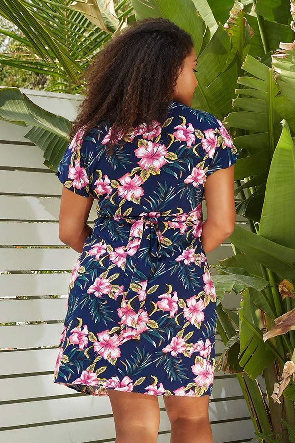 Navy Floral V-Neck Plus Size Dress