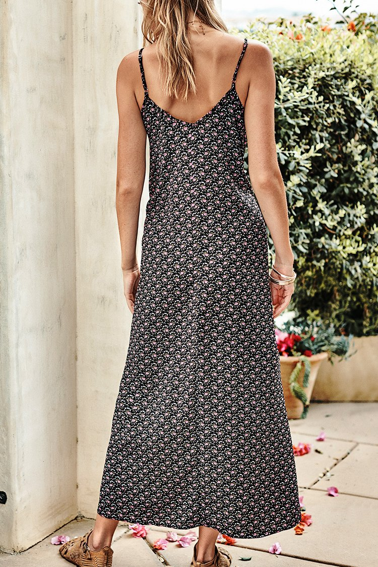 Black Ditsy Floral Slip Midi Dress