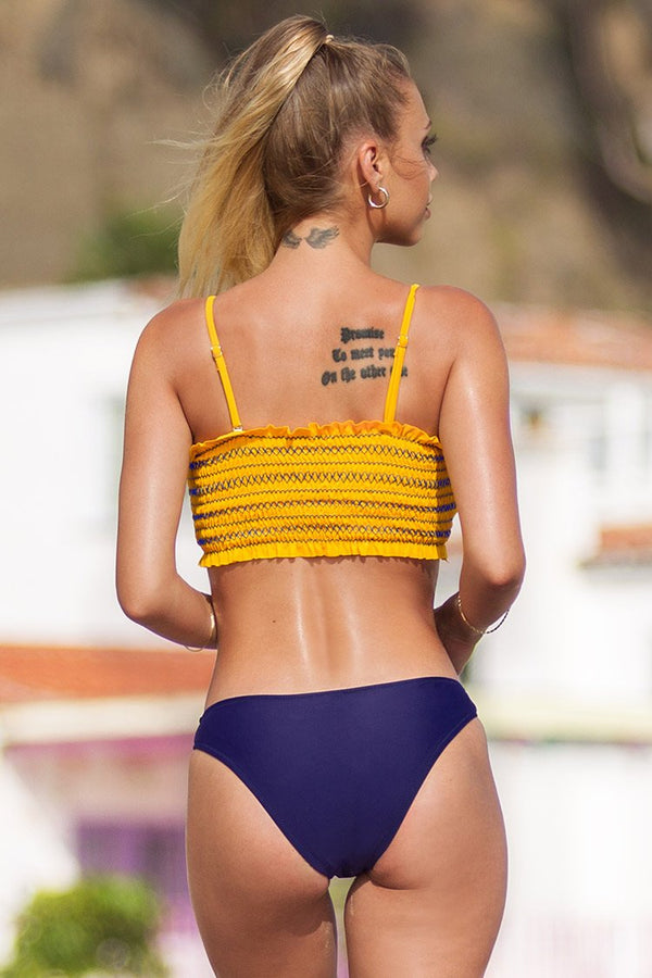 Yellow Smocked Top with Purple Bottom Bikini Set
