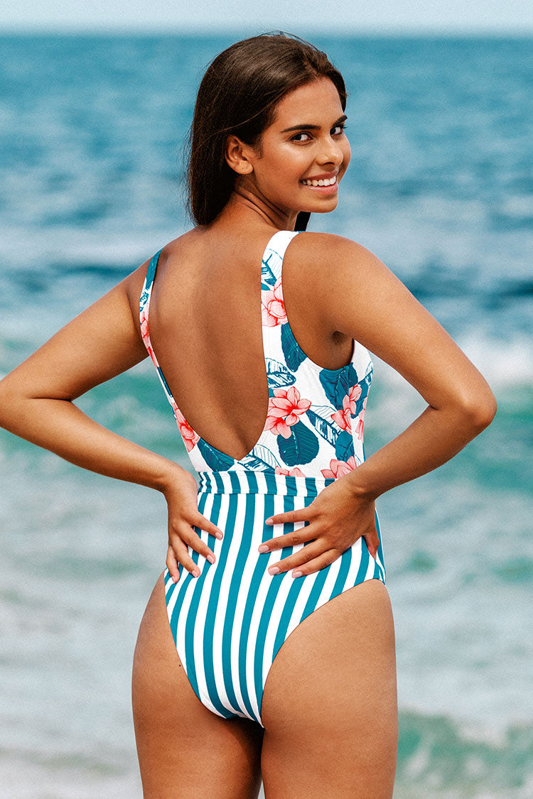 Floral and Striped Scoop Back Cutout One Piece Swimsuit
