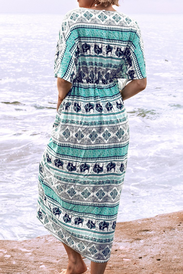 Elephant Print Drawstring Midi Dress