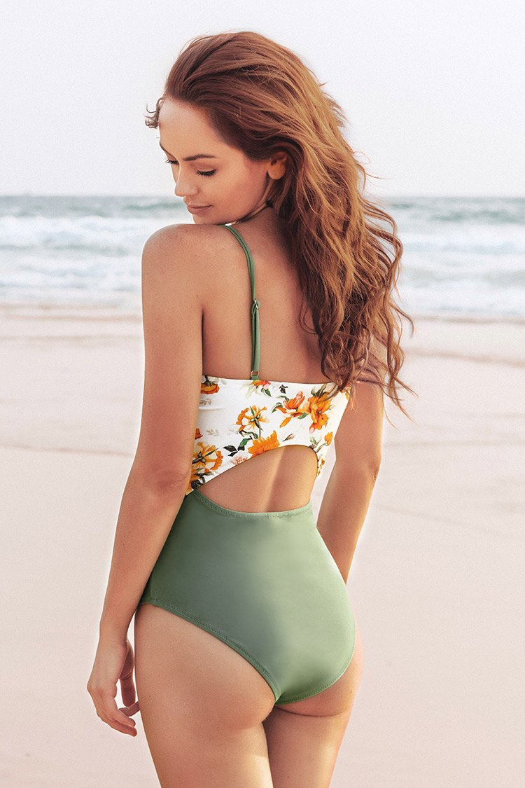 Green and Floral Knotted One-Piece Swimsuit