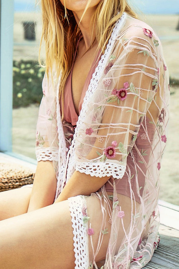 Transparent Floral Embroidery Cover Up