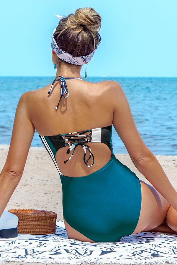 Blue Stripe Twist One-Piece Swimsuit
