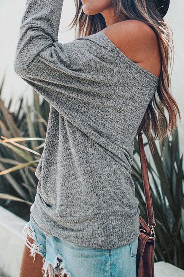 Gray Off-The-Shoulder Long Sleeve Top