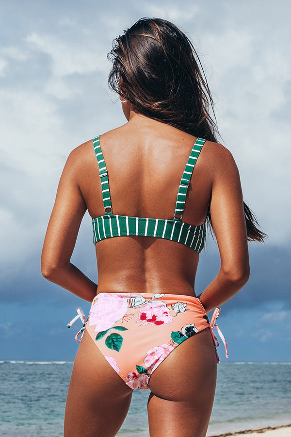 Striped and Floral Knotted Bikini