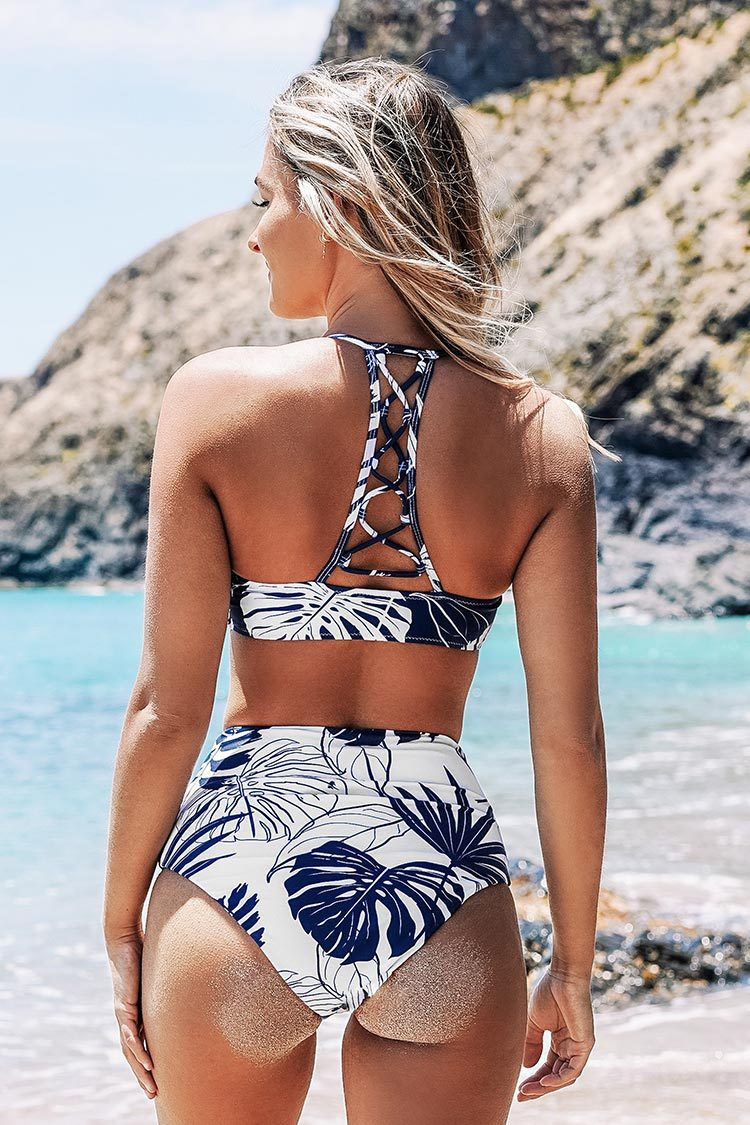 Blue and White Leafy High Waisted Bikini