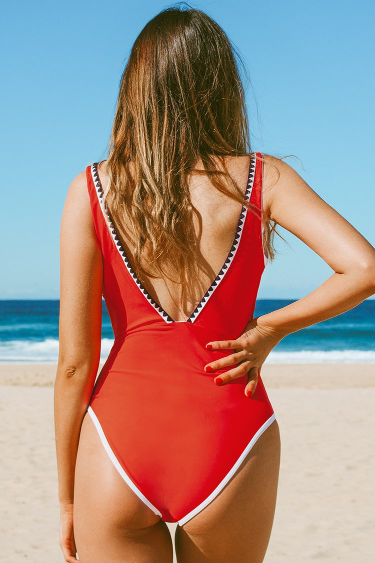Orange Red Plunging Neckline One-Piece Swimsuit