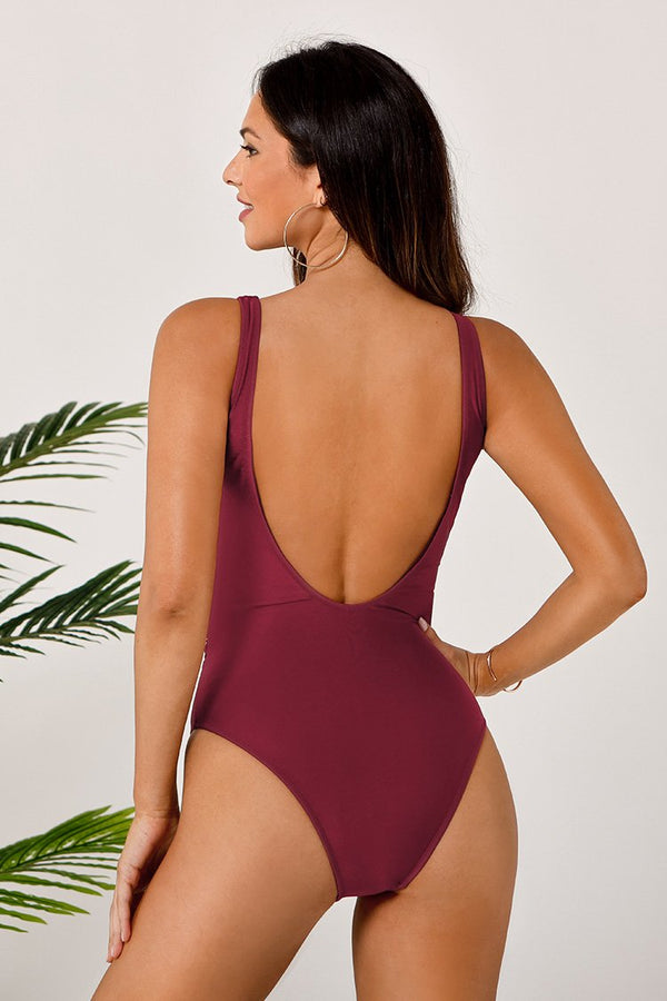 Maroon Wrap Scooped Back One Piece Swimsuit