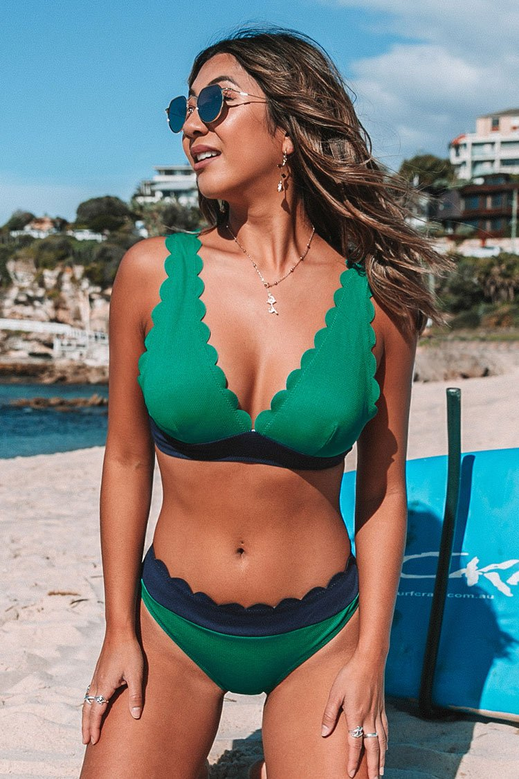 Green and Navy Scalloped Bikini Bottom