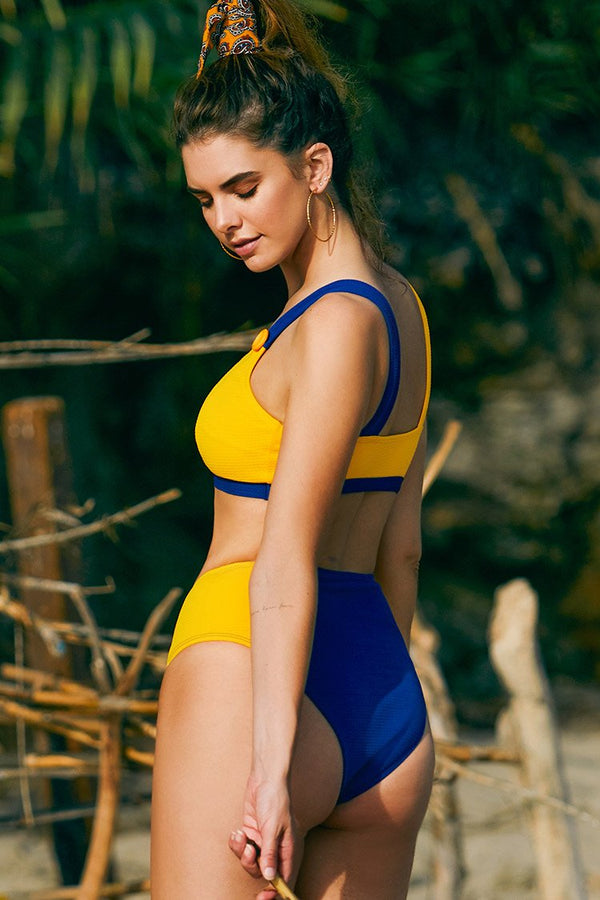 Sporty Yellow and Blue High-Waitsed Bikini
