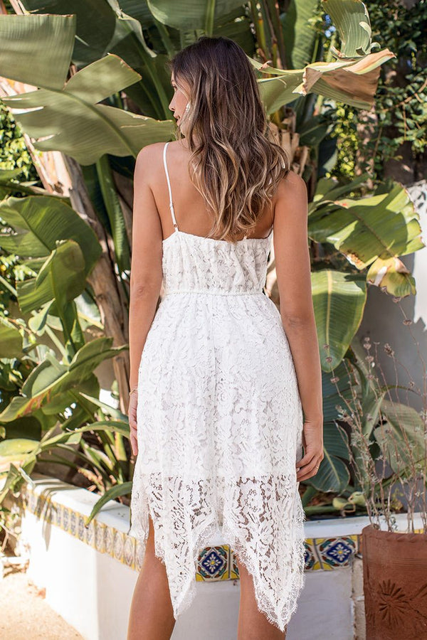 White Lace Midi Dress with Irregular Hem