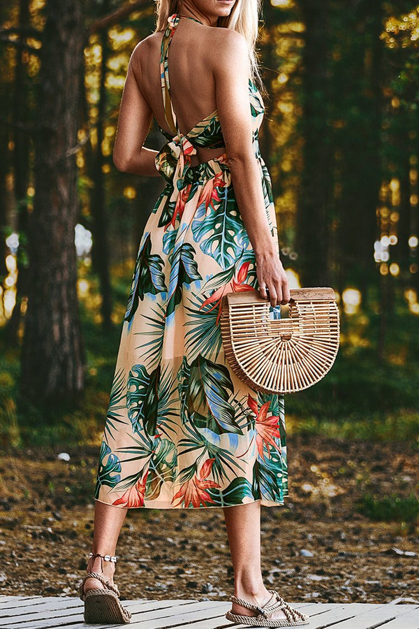 Tropical Floral Print Halter Midi Dress