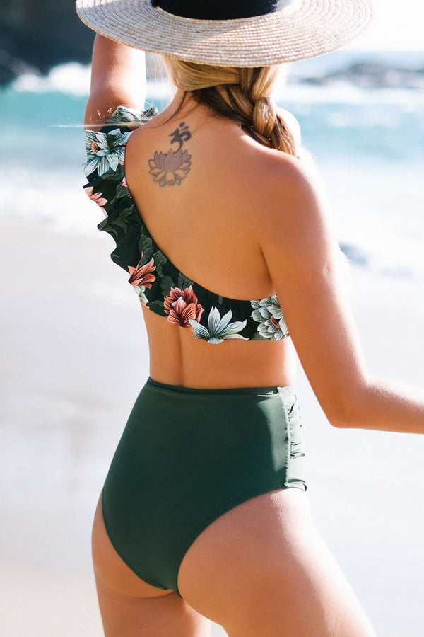 Dark Green Floral One Shoulder Ruffled High Waisted Bikini