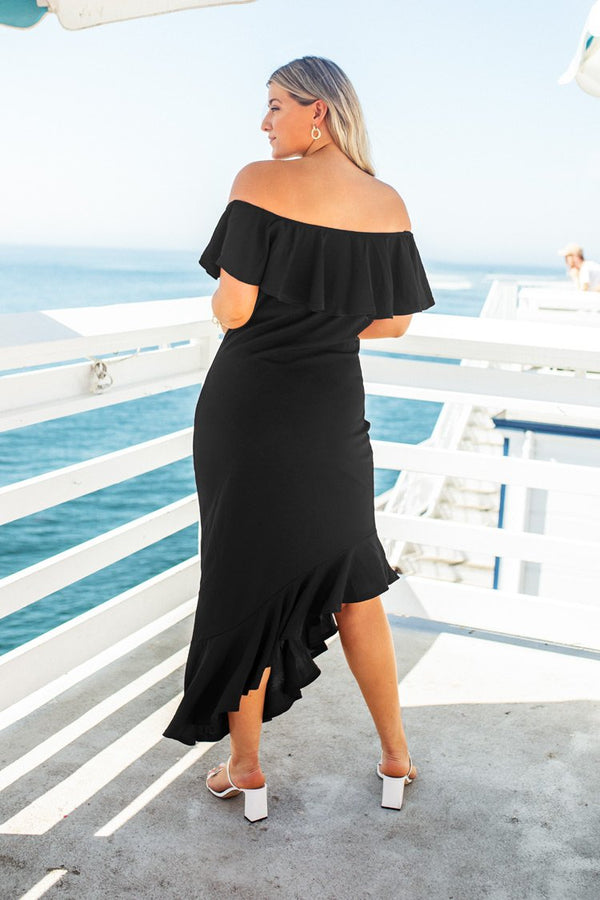 Black Off Shoulder Plus Size Dress