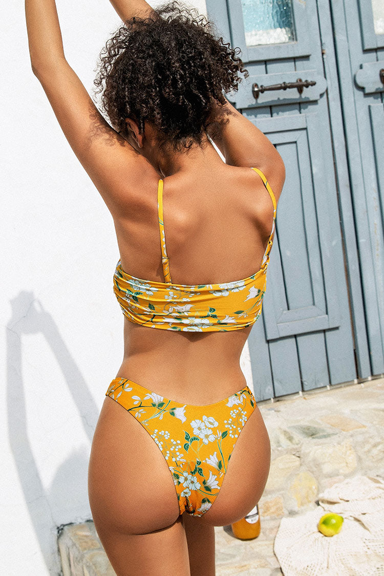Yellow Floral Knotted Low Rised Bikini