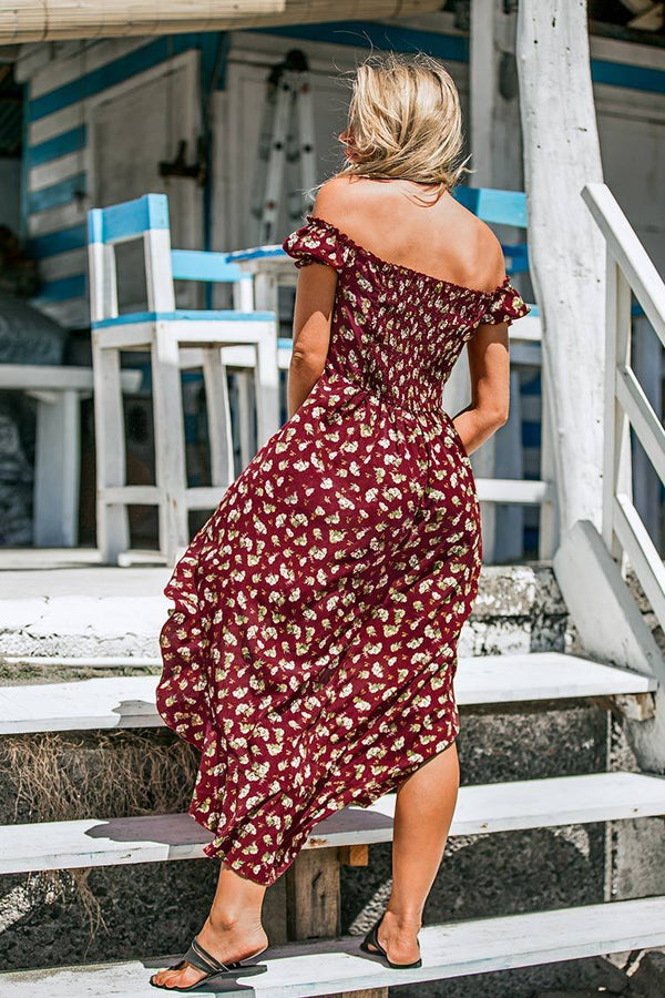 Red Floral Off Shoulder Midi Dress