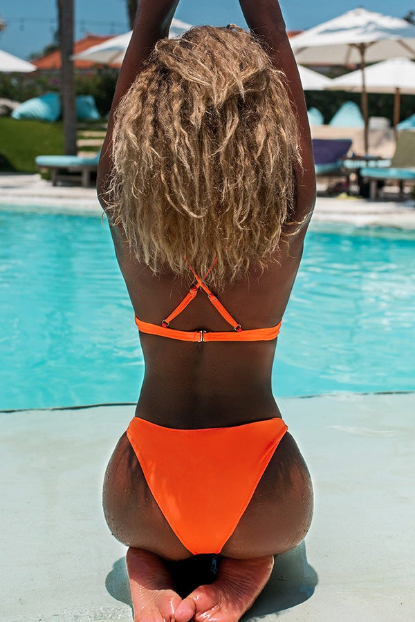 Neon Orange Scalloped Bikini
