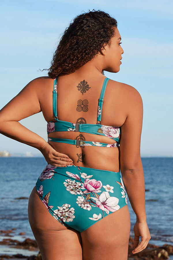 Blue Floral Cutout High Waisted Plus Size Bikini