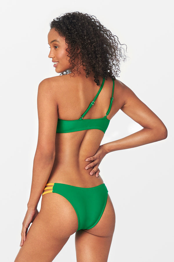 Green One Shoulder Strappy Bikini