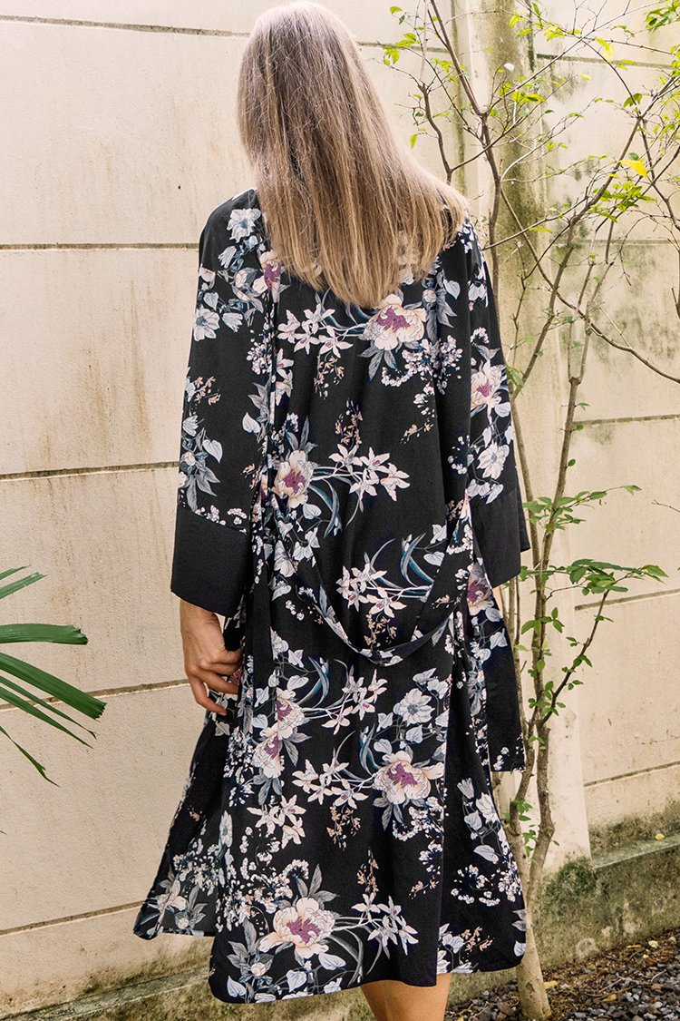 Black Floral Print Long Sleeve Cover up