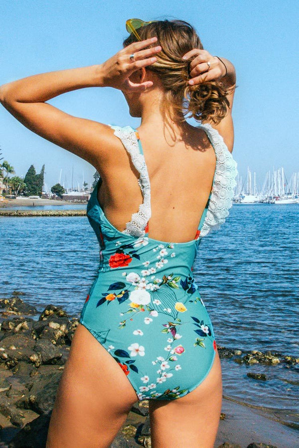 Blue Floral Lace Trim One-Piece Swimsuit