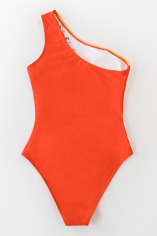 Colorblock One Shoulder Lace Up One-Piece Swimsuit