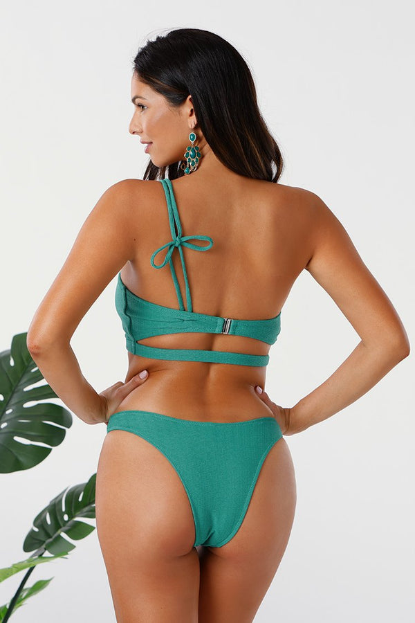 Teal One Shoulder Bandeau Low Rise Bikini