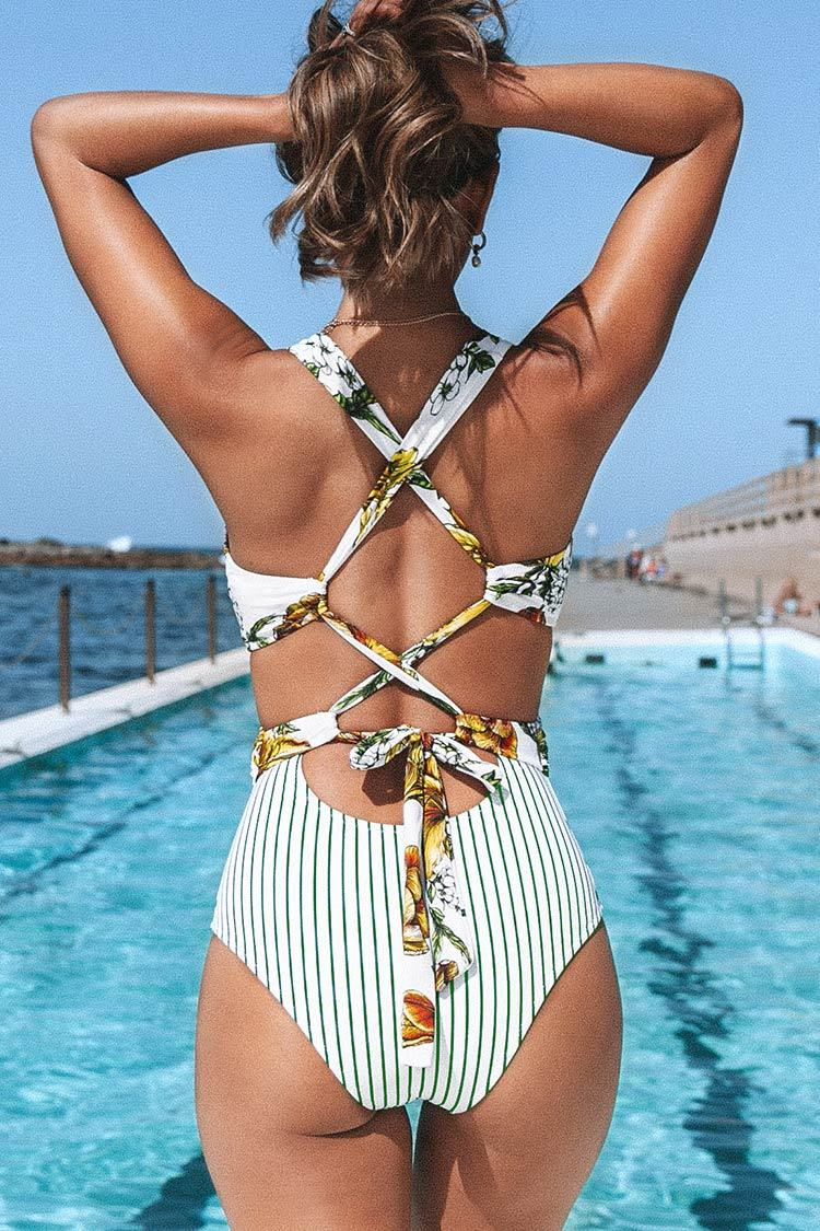 White Floral and Stripe One Piece Swimsuit