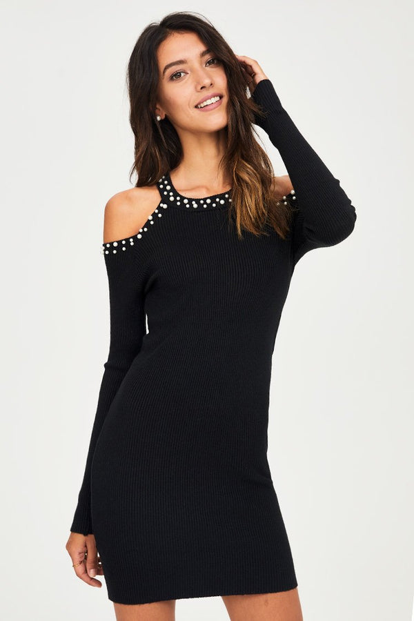 Cold Shoulder Pearl Bodycon Dress