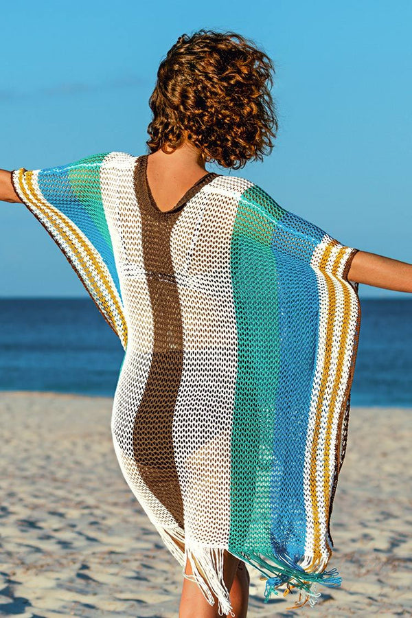 Colorblock Crochet Cover Up with Fringe Trim