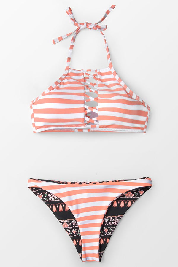Orange And White Stripe Lace-Up Bikini