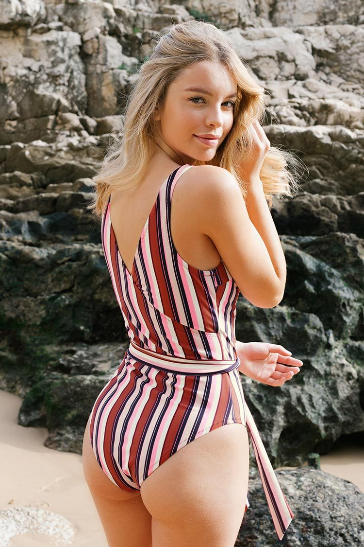 Colorful Stripe Wrap One-Piece Swimsuit