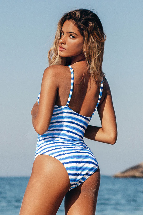 Blue Watercolor Stripe One Piece Swimsuit