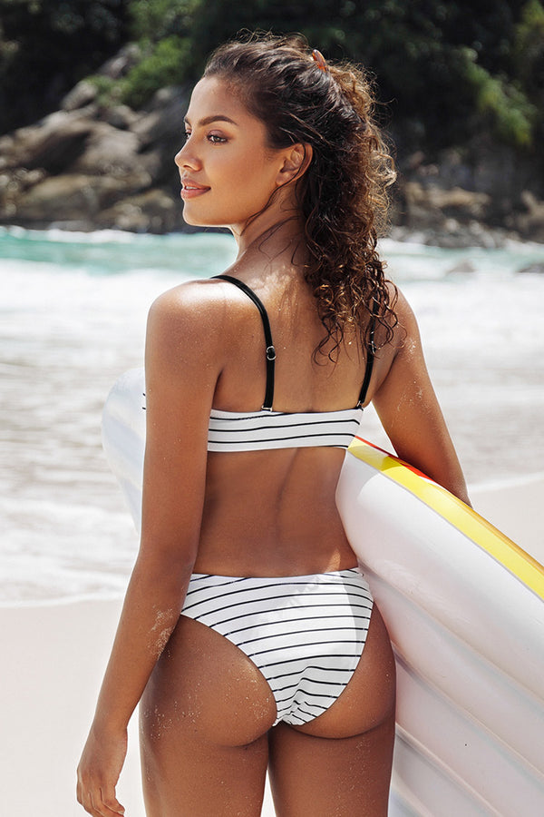 White Striped High Leg Bikini