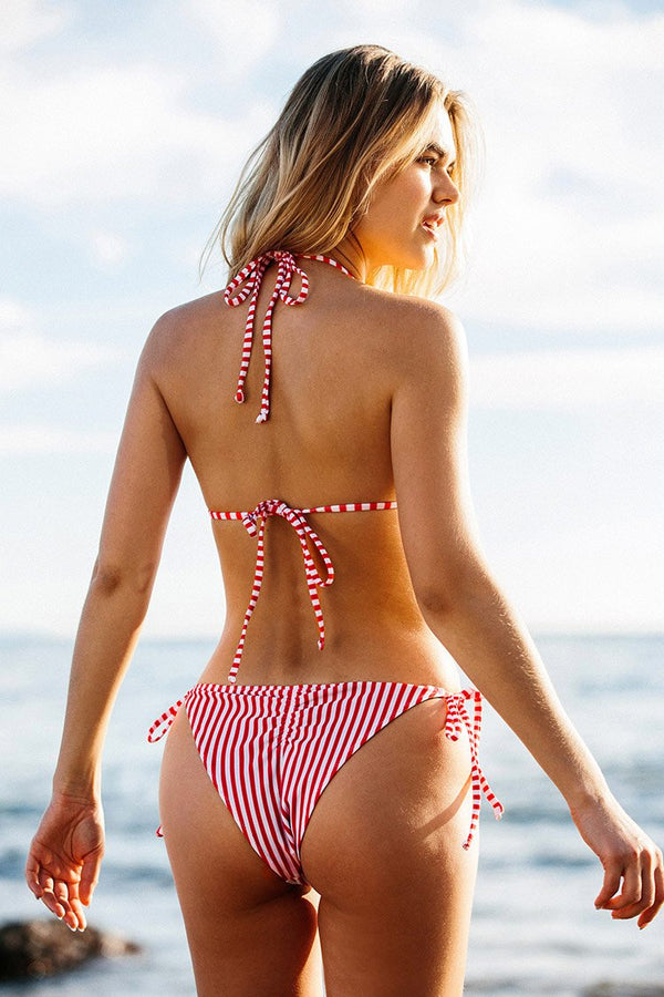 Red and White Stripe Triangle Bikini