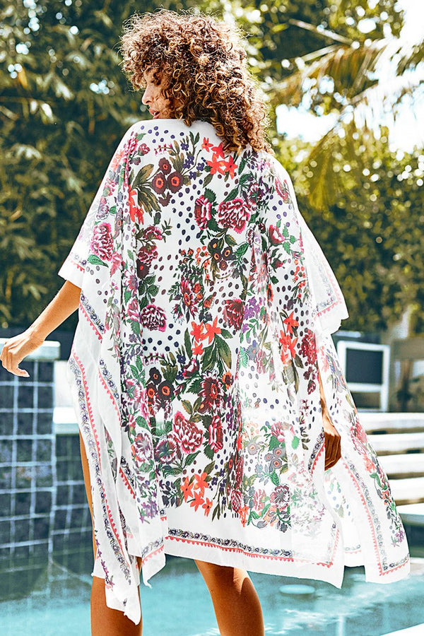 White Floral Print Midi Side Slip Cover Up